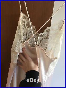 Vintage delicate petal pink mini cross back satin lace babydoll slip dress
