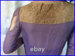 Vintage formal Dress 30s handkerchief Silk chiffon Bridal wedding LS purple Slip