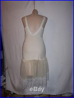 Vintage girdle slip dress with flouncy lace and garters