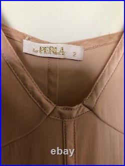 Vintage la perla long maxi silk blend slip dress satin trim peachy nude 2 XS/S