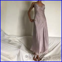 Vintage late 90s early 00s Mango dusky lilac silk slip dress gown Size Small