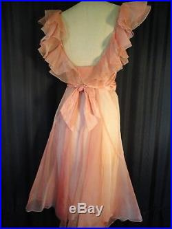 Vintage pink 100% Silk organdy Ruffled 30's Dress party Sheer S M bias Slip deco