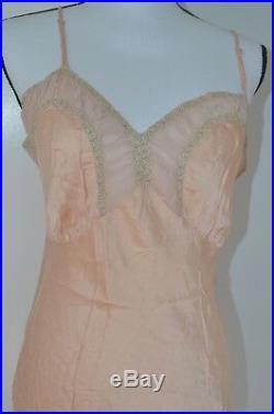 Vintage pink Long Spaghetti Strap Lingerie Slip Nightgown silk Size XS/ S