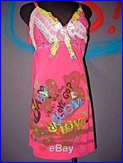 Vintage pink slip dress punk grunge riot grrl gothic Lolita sz XL by Lexa Vonn