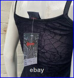 Vintage raven goth gothic vamp purple black spiderweb lace mesh slip dress