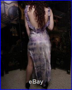 Vintage silk purple tie dye ruffle open back gown hand-made unique slip dress