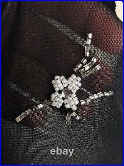Vivienne Tam Mesh Dress Black Nylon 2 M Vtg Beaded Sheer Midi 90s Couture NWT