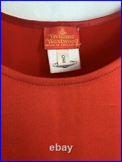 Vivienne Westwood Slip Dress Red Satin Vintage S/S 93 Embroidered Giant Orb 90s