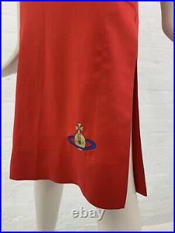 Vivienne Westwood Vintage Slip Dress Red Satin S/S 93 Embroidered Giant Orb 90s