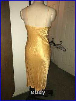 Voyage Of London Yellow Orange Silk Satin Slip Dress One Size (up To 8) Vintage