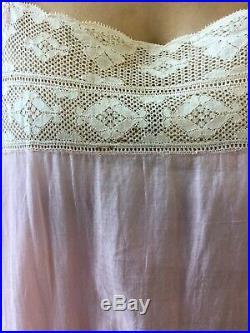 Vtg 1900 Slip Dress Edwardian Silk Cotton Lace Antique Slip Dress Lingerie Vtg