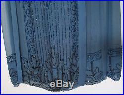 Vtg 1920's 30's FLAPPER DRESS & SLIP Sapphire Blue Silk Chiffon BEADED Women S
