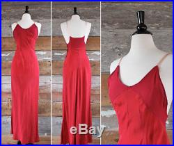 Vtg 1930 30s Silk Crepe Bias Cut Slip Dress Straps Long Maxi Red Pink XS S