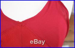 Vtg 1930 30s Silk Crepe Bias Cut Slip Dress Straps Long Maxi Red Pink XS S