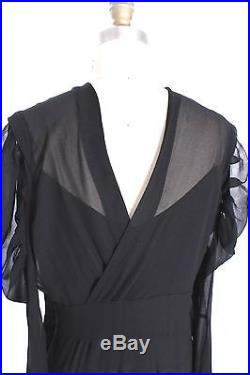 Vtg 1930s Dress Gown Bias Cut Black Rayon Chiffon Fab Style M +slip Great Sleeve