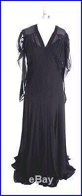 Vtg 1930s Dress Gown Bias Cut Black Rayon Chiffon Sz 12/14 M/L+slip Great Sleeve