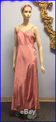 Vtg 1950's Vintage 50s Pink Party Evening Cocktail Dress slip lace long