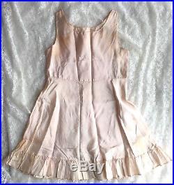 Vtg 1950s Girls Sheer Pink Organza Party Dress with Crinoline Tulle & Slip Sz 10