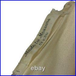 Vtg 1960's Train Satin Wedding Gown Dress Leg Slip Strapless White Medium M 8 10
