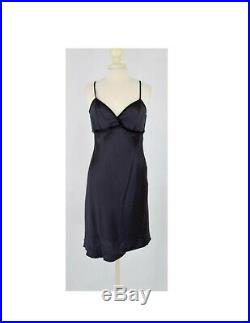 Vtg 1990's Louis Feraud Black Satin Velvet Slip Dress 90's Little Black Dress M