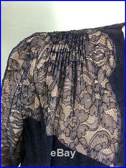 Vtg 30's 40's navy lace dress with crepe slip SZ XL