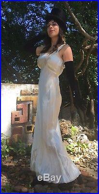 Vtg 30s Art Deco Ivory White Silk LACE Maxi Slip Dress Bias Cut Night Gown Boho