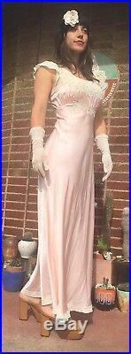 Vtg 30s Art Deco Pink Satin LACE Maxi Dress Night Gown Bias Cut Slip Dress Chic