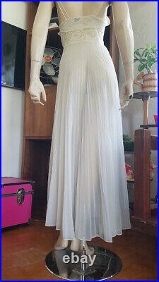 Vtg 30s Crystal Pleated FULL CIRCLE SWEEP Sheer Nylon Slip Dress Nightgown S/M