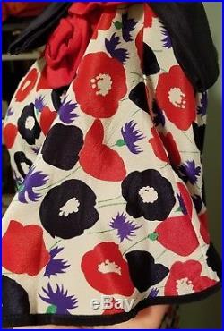 Vtg 40s 3-in-1 Floral Print Silk Slip Dress Art Deco sheer kimono overlay M WOW