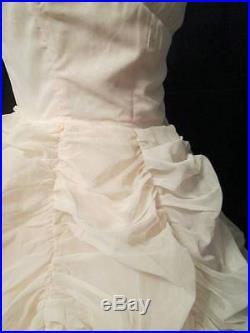 Vtg 50s Pale Pink Blush Chiffon BUSTLE Hoop Slip Wedding Bridal Gown Dress XS