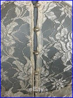 Vtg 60s 70s Boho Wedding Slip Lace Long slv Drop Waist Prairie Mini Dress H1