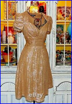 Vtg 90's Betsey Johnson Dress Gold PINSTRIPE Women's Casual Cocktail Party 4 S