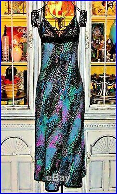 Vtg 90's Betsey Johnson Dress Snake Multi lace Sexy Cocktail Party Slip M 6 8 10
