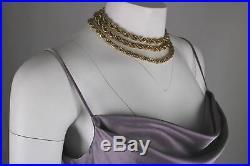 Vtg 90's Lavender Liquid Satin Cowl Neck Slip Maxi Blogger Dress 38 12