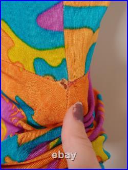 Vtg 90s Betsey Johnson Colorful Camouflage Slip Dress S Grunge Rave Club Kid