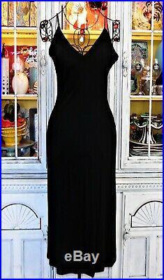 Vtg 90s Betsey Johnson Dress Black Floral Lace Slip Long Cocktail Party S 2 4 6