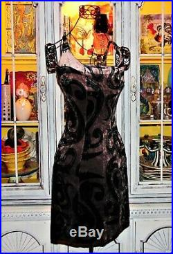 Vtg 90s Betsey Johnson Dress CRUSHED VELVET Bug Franky Tattoo Slip Casual Party