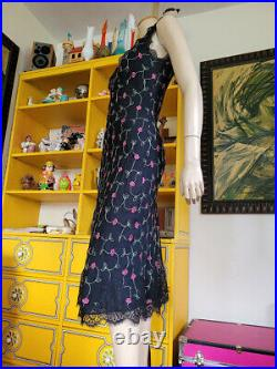 Vtg 90s Betsey Johnson Girly Grunge Lace Bias Goth Midi Chiffon Slip Dress S/M