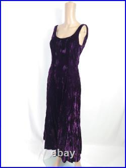 Vtg 90s Betsey Johnson Luxe Purple Crushed Velvet Midi Dress S Rosette Low Back