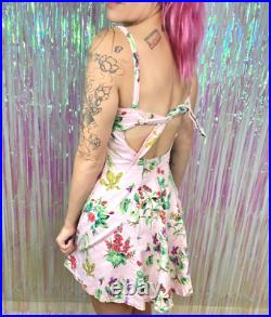 Vtg 90s Betsey Johnson Pink Floral Fit & Flare Tie Back Mini Slip Sundress S