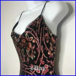 Vtg 90s Betsey Johnson Velvet Burnout Slip Dress 8 Black Pink Floral Grunge