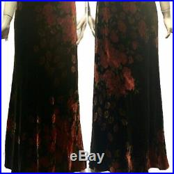 Vtg 90s Betsey Johnson-like floral rose velvet slip maxi long dress Sm
