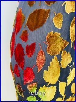 Vtg 90s Bias Cut Burnout Silk Slip Maxi Dress Multi Color Fall Velvet Leaves S M