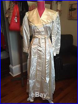 Vtg BIAS CUT 30s 40s Satin Rayon Robe & Gown Slip DreSs Hollywood Glam XS