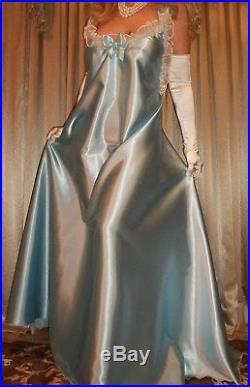 Vtg Baby Blue Long Full Sweep Satin Nightgown CD Dress Slip Lingerie 2X 3X