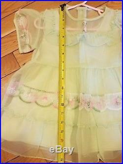Vtg. Baby Dress & slip, Sheer Fabric & Satin hand stitched vintage 1950 baby