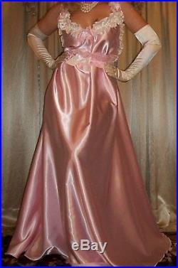 Vtg Baby Pink Long Full Sweep Satin Slip Nightgown Babydoll Negligee Dress 2X 3X