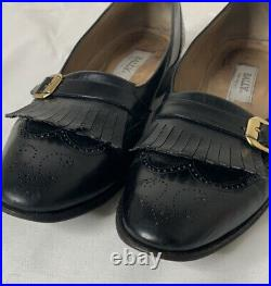 Vtg Bally Black Leather Mens Sz 9 Dress Shoes Loafers Slip On
