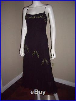 Vtg Betsey Johnson 90s Black Slip Dress Floral gored ruffles fitted size 4