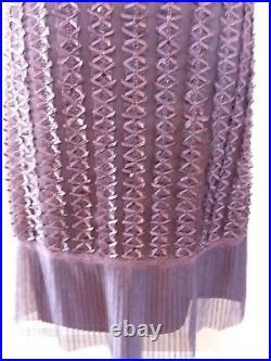 Vtg Betsey Johnson Black Label Brown Silk Mesh Slip Dress Ribbons Women L Large